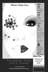 Winter Glam Face Chart Face Chart